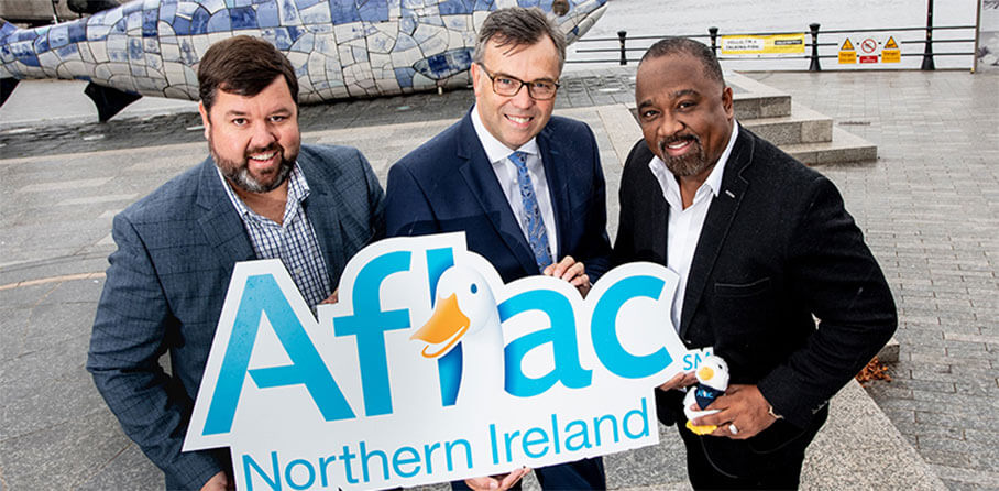 Aflac - Pictured (L-R) are Keith Farley, MD, Aflac Northern Ireland, Alastair Hamilton, CEO, Invest Northern Ireland and Virgil Miller, executive vice president and chief operating officer of Aflac U.S.