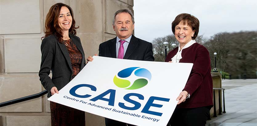 Pictured (L-R) are Sam McCloskey, Director, CASE with Trevor Haslett, Chair of CASE and Diane Dodds, Minister for the Economy.