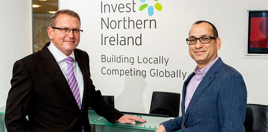 Highroads - Pictured (L-R) are Derek Andrews, Head of International Investment, Invest NI with Ajay Bhandari, SVP of Engineering, HighRoads