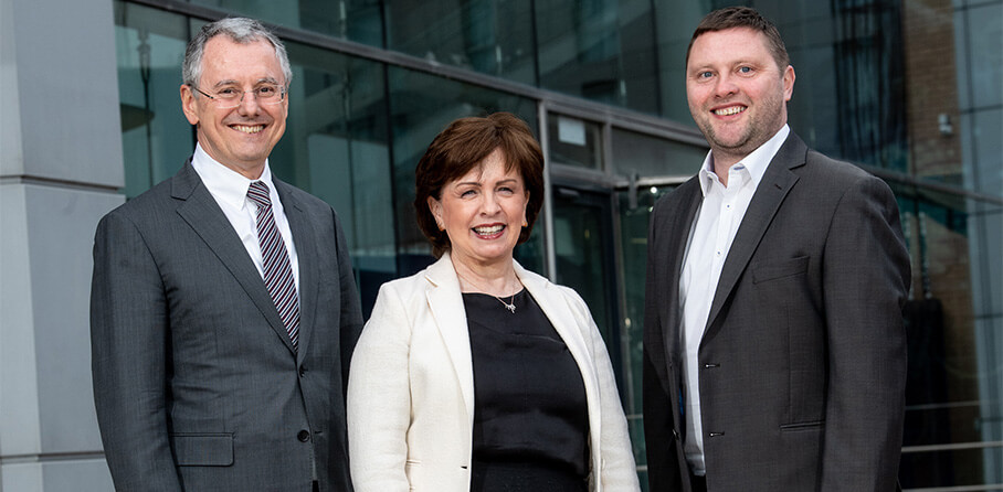 Pictured (L-R) are Kevin Holland, CEO, Invest NI, Economy Minister Diane Dodds and Darren Dillon of Microsoft.