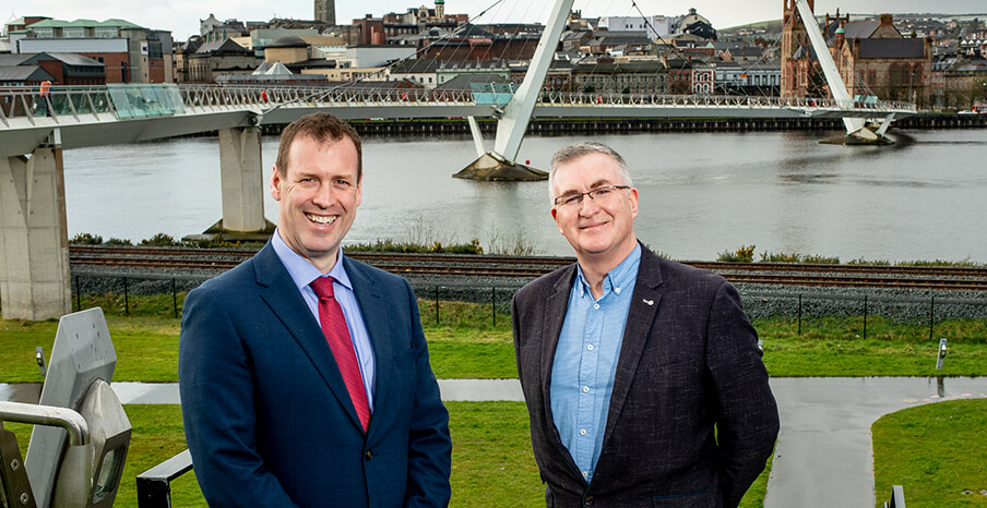 Pictured (L-R) are Steve Harper, Executive Director of International Business, Invest NI with Cathal Murtagh, Chief Operating Officer, Deveire