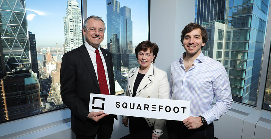 Pictured (L-R) are Kevin Holland, CEO, Invest NI with Minister for the Economy Diane Dodds and Jonathan Wasserstrum, CEO, SquareFoot.