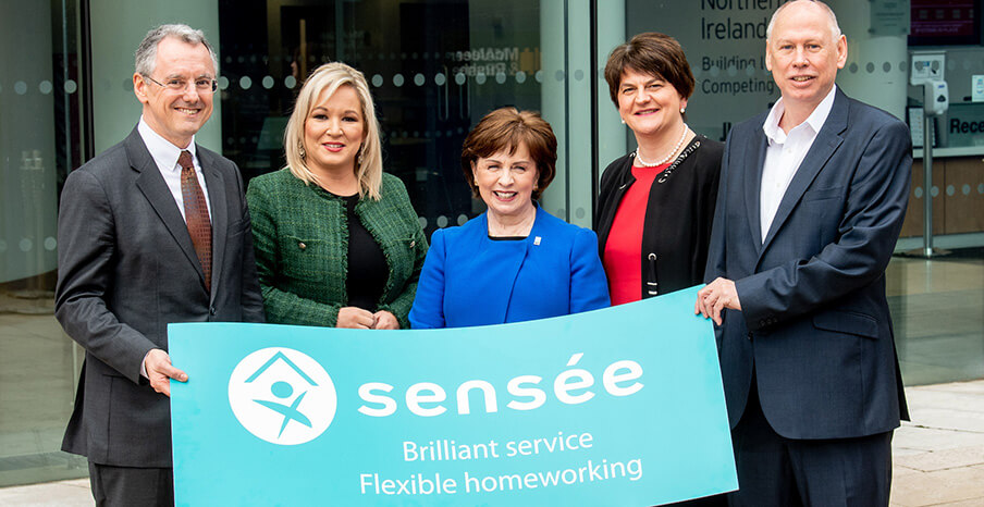 Pictured (L-R) are Kevin Holland, CEO, Invest NI with deputy First Minister Michelle O'Neill, Minister for the Economy Diane Dodds, First Minister Arlene Foster and Rob Smale, COO, Sensée.