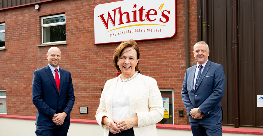 Pictured (L-R) are James Mathers, General Manager at White's Oats, with Minister for the Economy Diane Dodds, and Trevor Lockhart, Chief Executive, Fane Valley Co-op