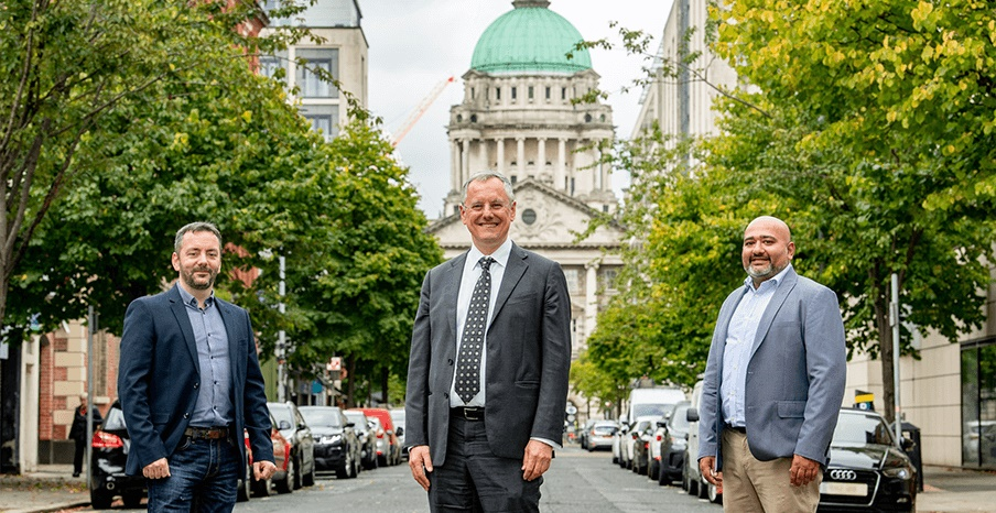 ictured (L-R) are Terry Kernan, Site Lead, Safety NetAccess with Kevin Holland, CEO, Invest NI and Resham Patel, Vice President Software Development, Safety NetAccess.