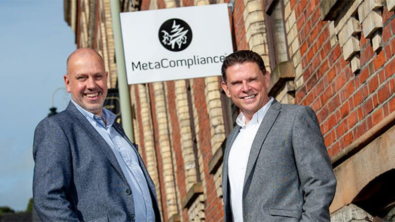 MetaCompliance news image - Pictured (L-R) are John Hood, Multi Sector Director, Invest NI with Robert O'Brien, Chief Executive, MetaCompliance