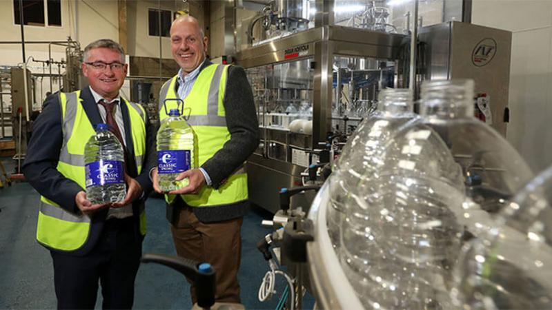 Classic Mineral Water - Pictured (L-R) are Liam Duffy, CEO and owner of Classic Mineral Water and John Hood, Director of Food & Drink, Invest Northern Ireland