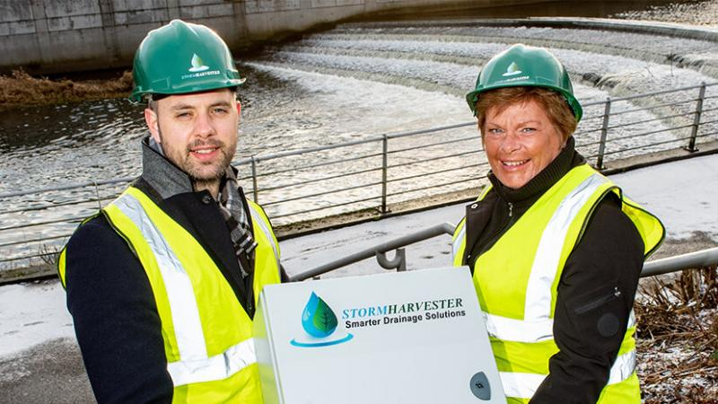 Stormharvester- Pictured (L-R) are Brian Moloney, founder, StormHarvester with Dr Vicky Kell, Director of Innovation, Research and Development, Invest NI.