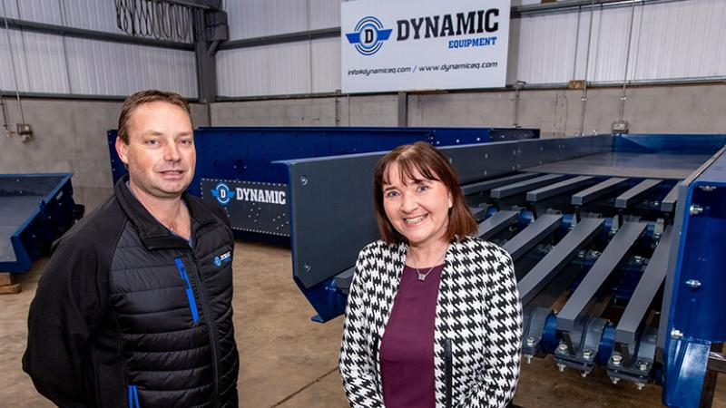 Dynamic Equipment - Pictured (L-R) are Daniel Ritchie, Owner and Managing Director, Dynamic Equipment with Ethna McNamee, Western Regional Manager, Invest NI