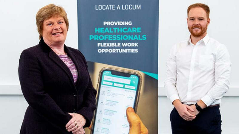 Locate a Locum - Dr Vicky Kell, Director of Innovation, Research and Development, Invest NI with Jonny Clarke, CEO and founder of Locate a Locum.