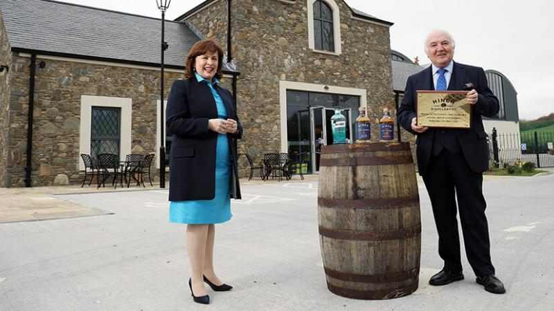 Pictured (L-R) are Economy Minister Diane Dodds with Dr Terry Cross OBE, Owner, Hinch Distilleryetary with George McKinney, Invest NI's Director of Technology & Services.